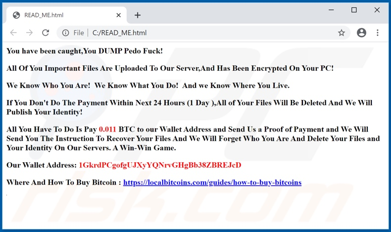 Enced ransomware ransom-demanding message (READ_ME.html)