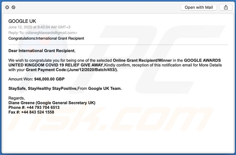 Google Winner scam email (2020-06-12)