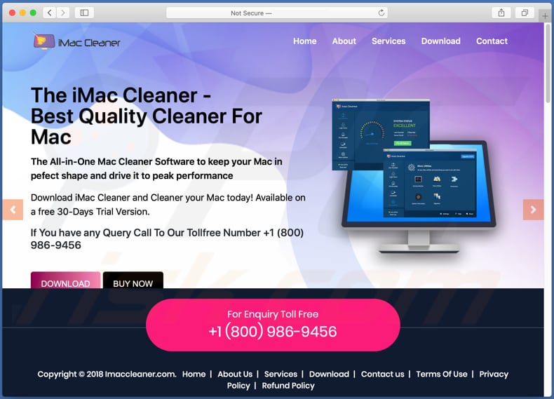 Website used to promote iMacCleaner PUA
