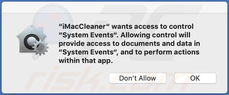 imaccleaner unwanted asks for a permission to access systemevents