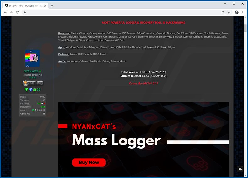 Hacking forum used to promote Mass Logger (MassLogger) malware