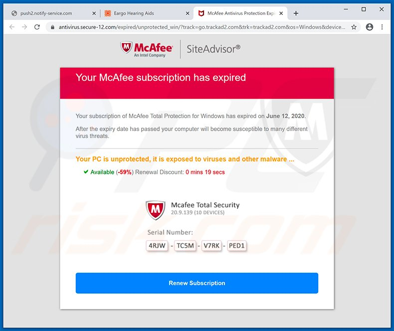 Your McAfee Subscription Has Expired pop-up scam (2020-06-16)