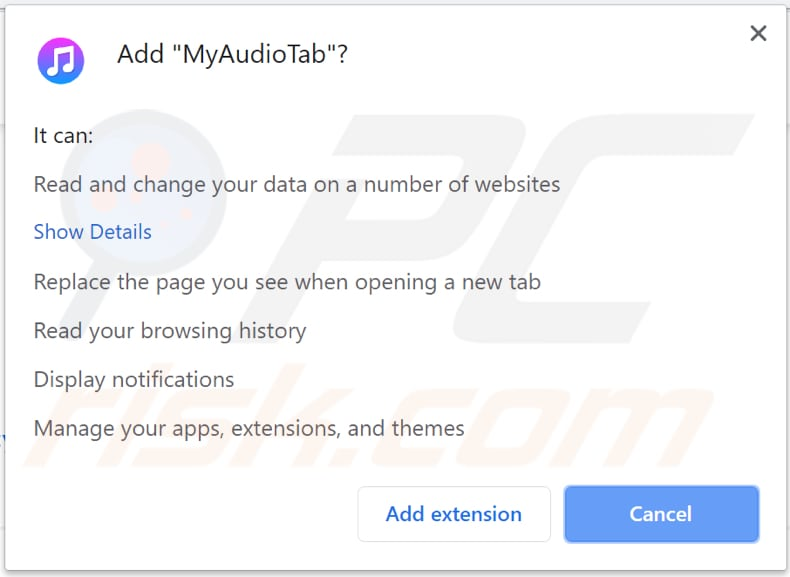 myaudiotab toolbar asks for a permission to be installed