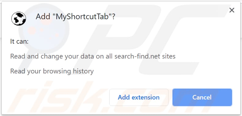 notification saying that MyShortcutTab can read and change certain data