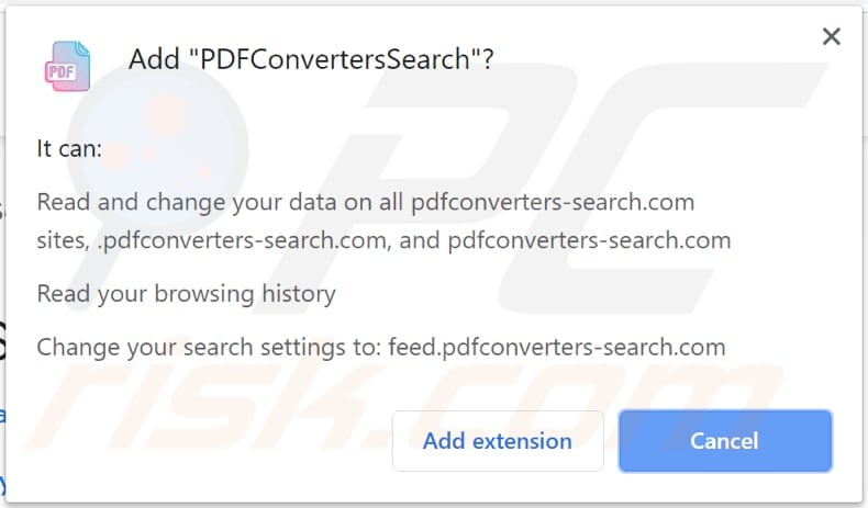 notification saying that PDFConvertersSearch can read and change data