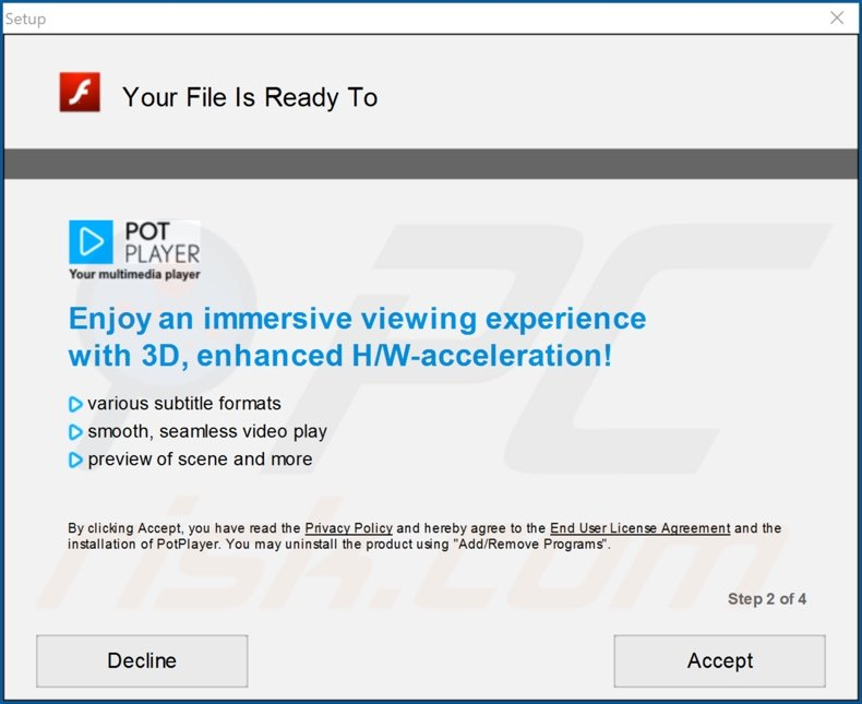 PotPlayer adware installer