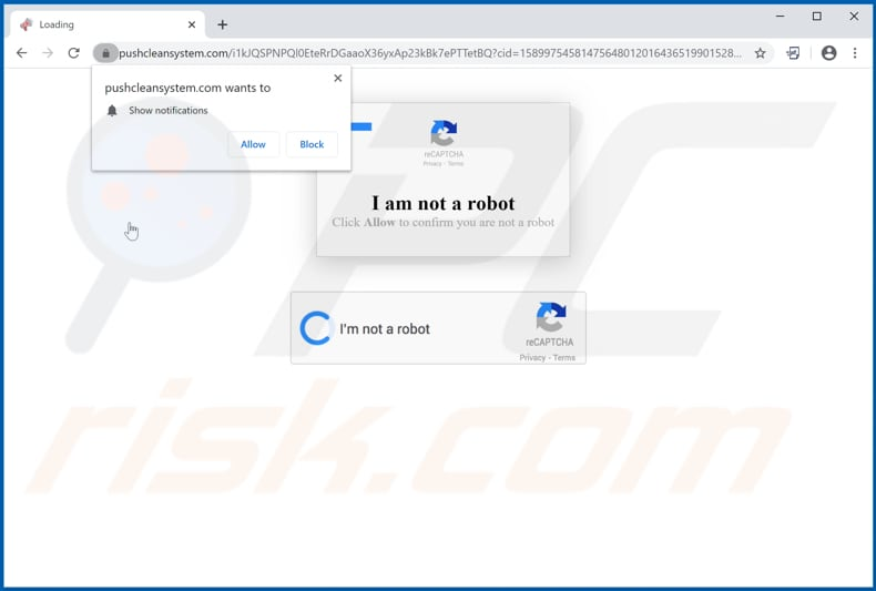 pushcleansystem[.]com pop-up redirects