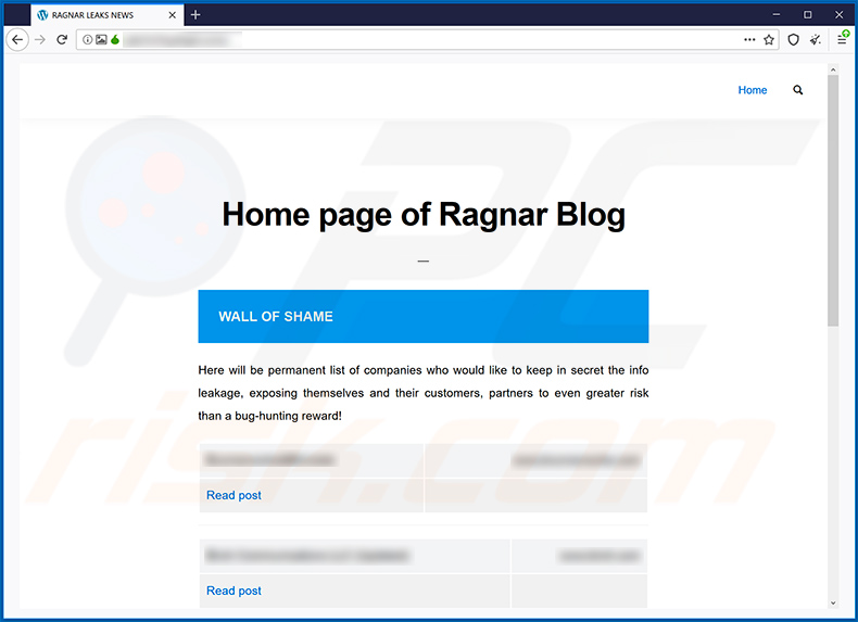 Ragnar Locker ransomware data leaking site