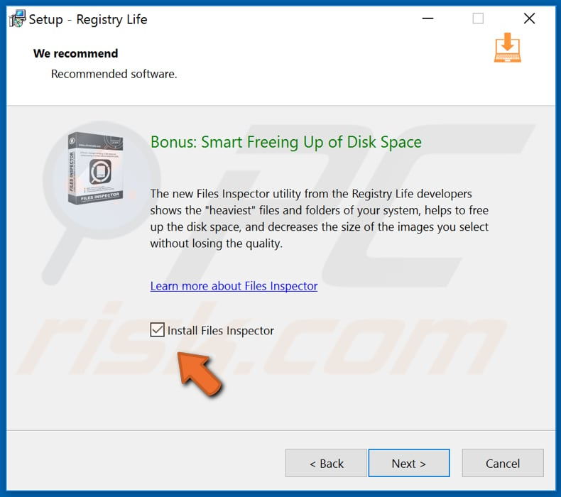 registry life installer promoting files inspector