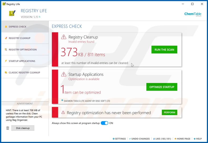 Registry Life unwanted application