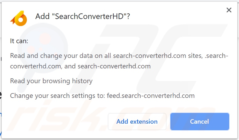 SearchConverterHD browser hijacker asking for permissions