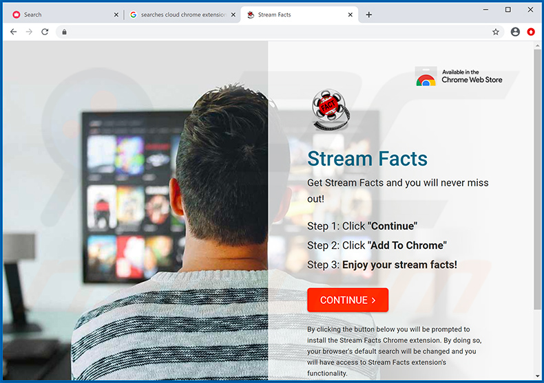 Stream Facts browser hijacker-promoting website