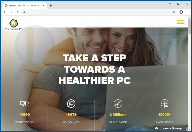 Website used to promote System Care Pro PUA