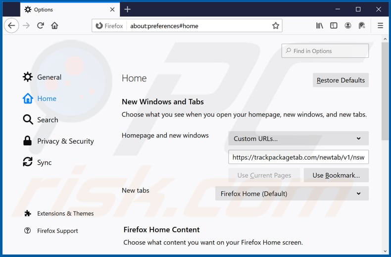 Removing trackpackagetab.com from Mozilla Firefox homepage