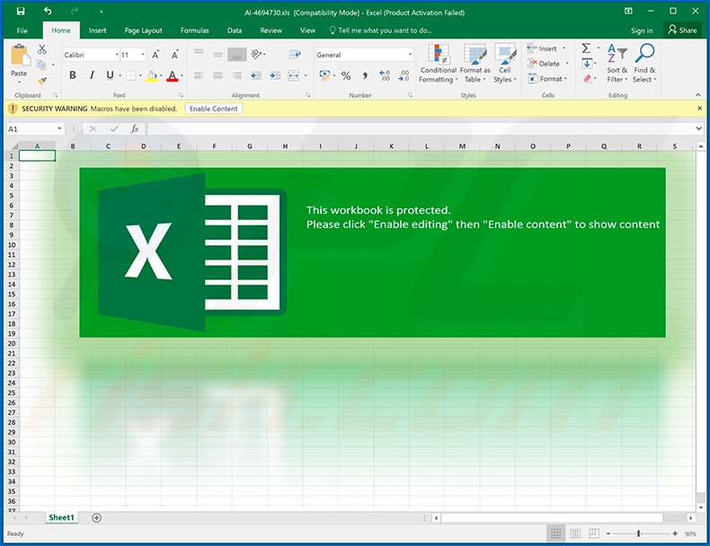 Ursnif trojan-spreading MS Excel document (AI-4694730.xls)