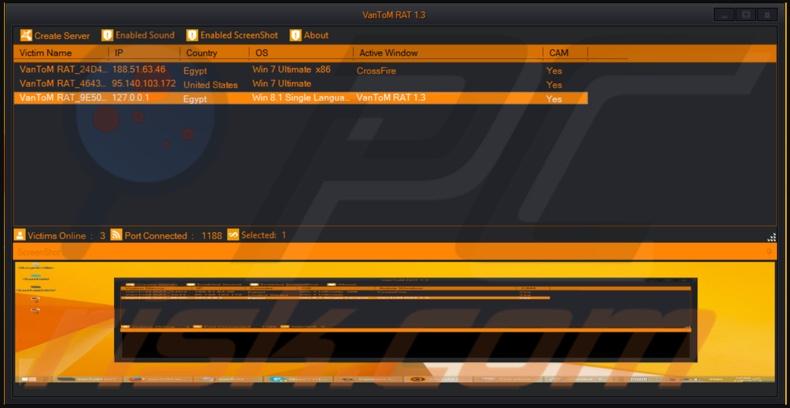 VanTom remote access trojan admin panel