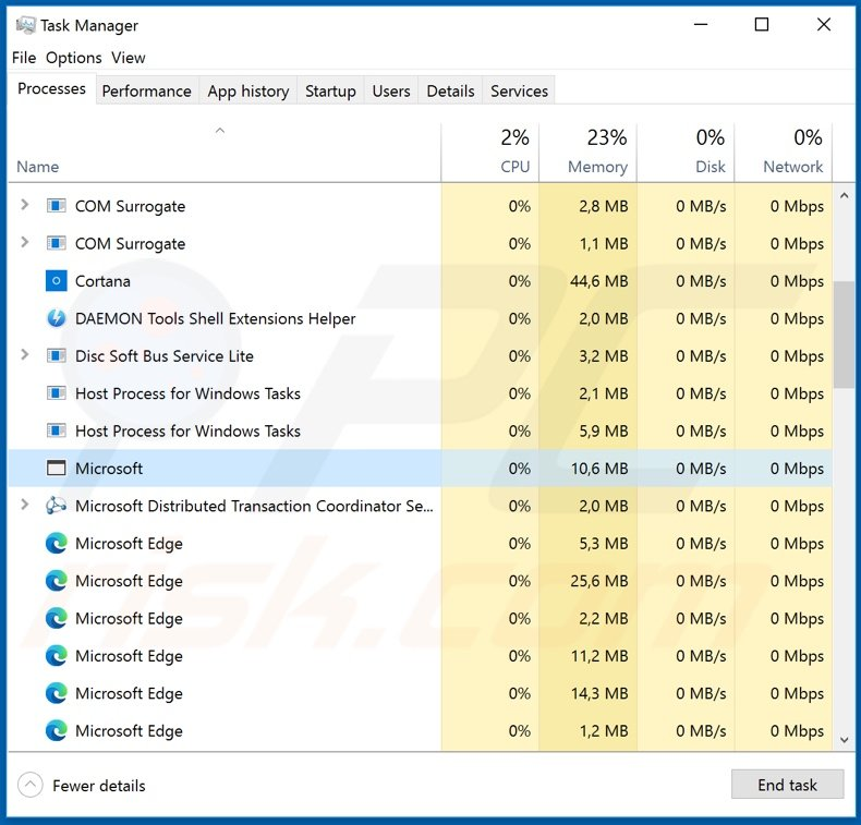 VanTom remote access trojan process on task manager (process name - Microsoft)