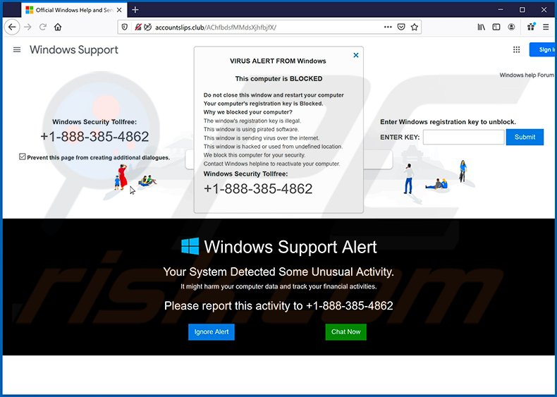 VIRUS ALERT FROM Windows pop-up scam (2020-06-18)