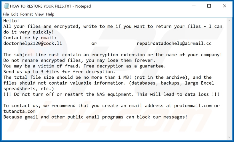 Wbqczq decrypt instructions (HOW TO RESTORE YOUR FILES.TXT)