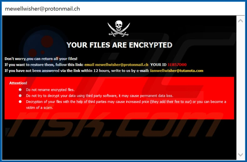 WELL decrypt instructions (pop-up window)