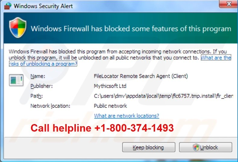 Windows firewall has blocked some features of this program scam