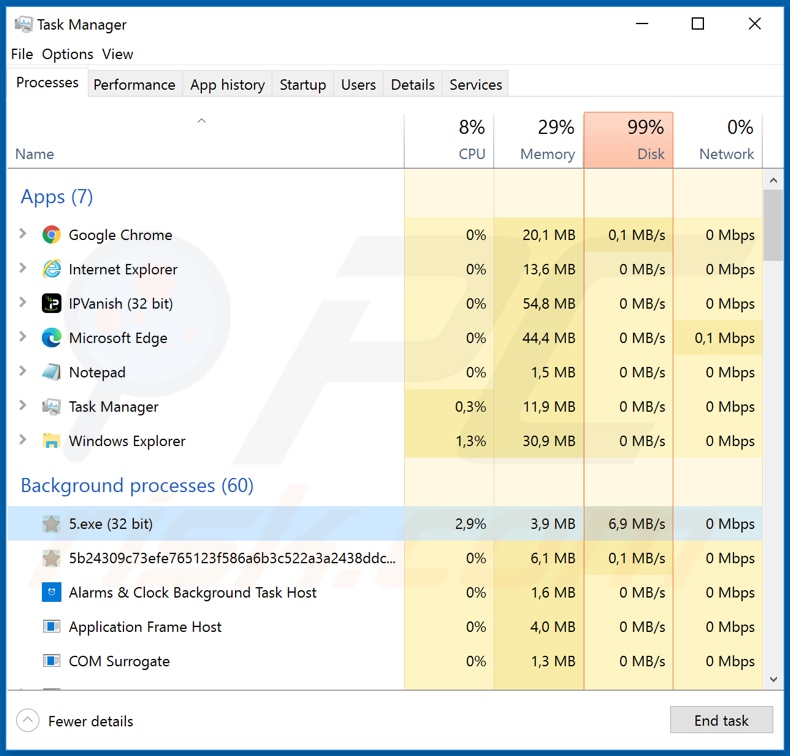 Zida ransomware process on Task Manager (5.exe)