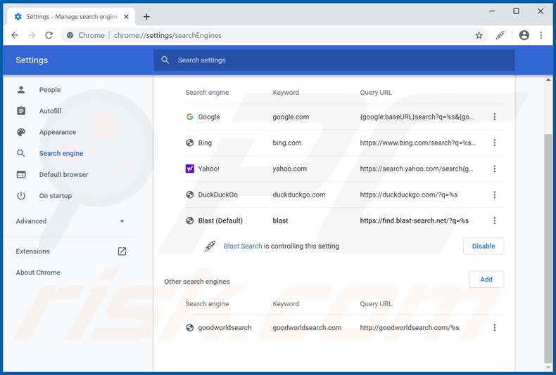 Removing blast-search.net from Google Chrome default search engine