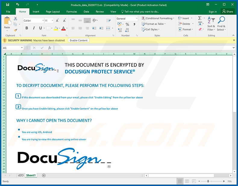 DocuSign-themed MS Excel document used to inject Cobalt Strike malware into the system