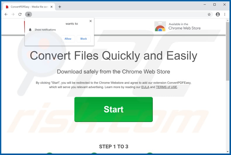 Website used to promote ConvertPDFEasy browser hijacker