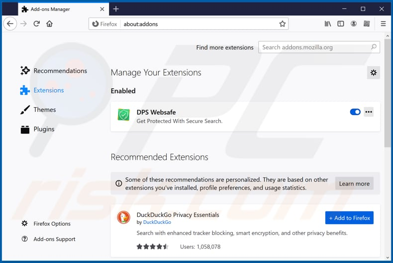 Removing dpswebsafe.com related Mozilla Firefox extensions
