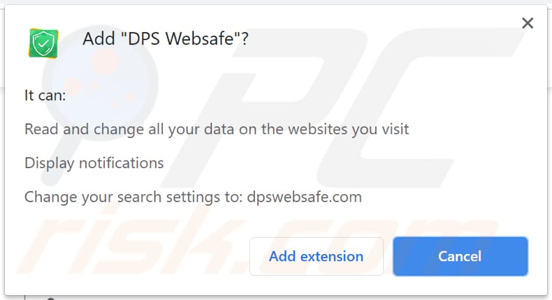 dps websafe browser hijacker notification on chrome