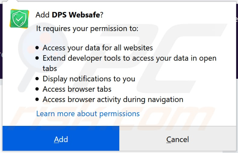 dps websafe browser hijacker notification firefox