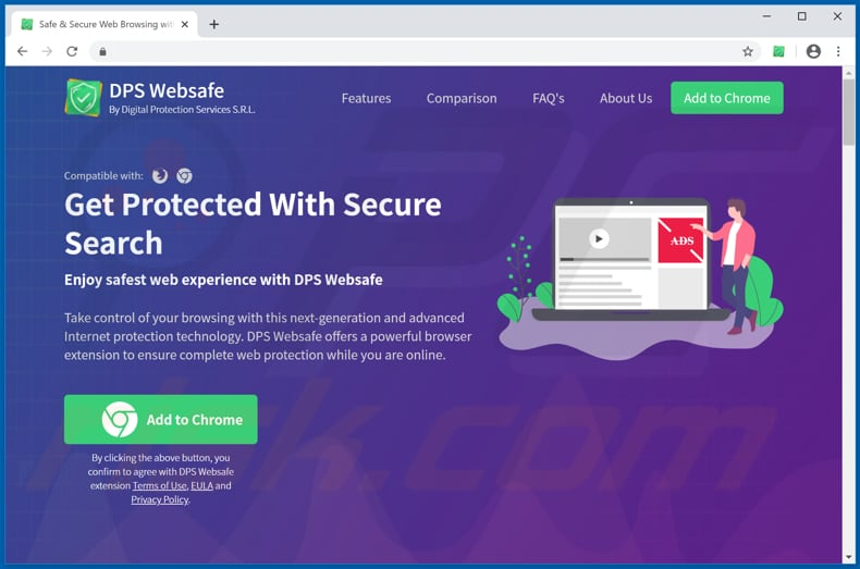 Website used to promote DPS Websafe browser hijacker