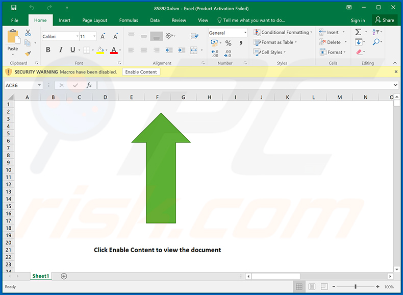 Malicious MS Excel document (858920.xlsm) distributing Dridex malware