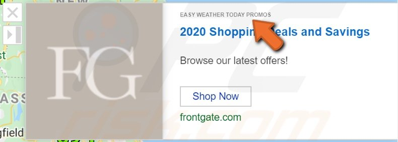 Advertisement delivered by Easy Weather Today Promos adware