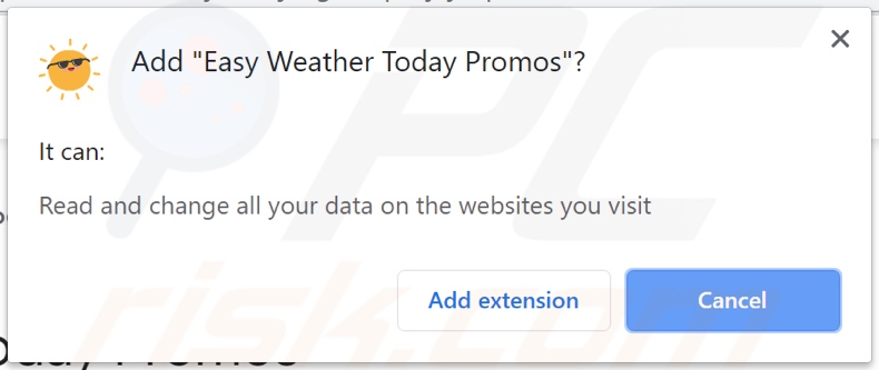 Easy Weather Today Promos adware asking for permissions