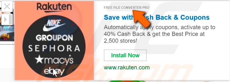 Advertisement delivered by Free File Converter Pro adware
