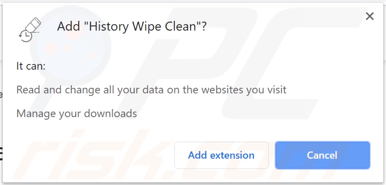 History Wipe Clean adware asking for permissions