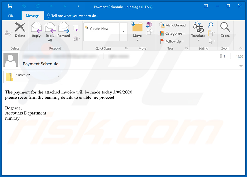 MassLogger malware-spreading spam email