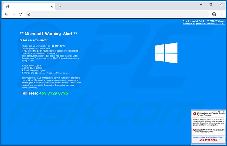 MS-SYSINFO32 POP-UP Scam