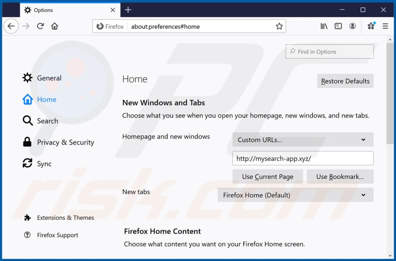 Removing mysearch-app.xyz from Mozilla Firefox homepage