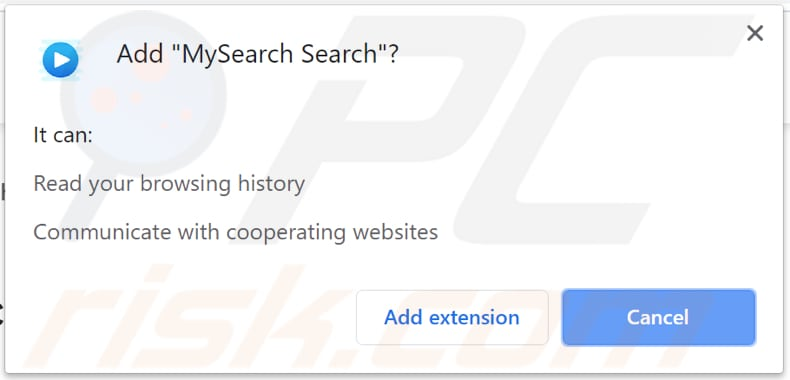 browser notifies that mysearch search can read and change data