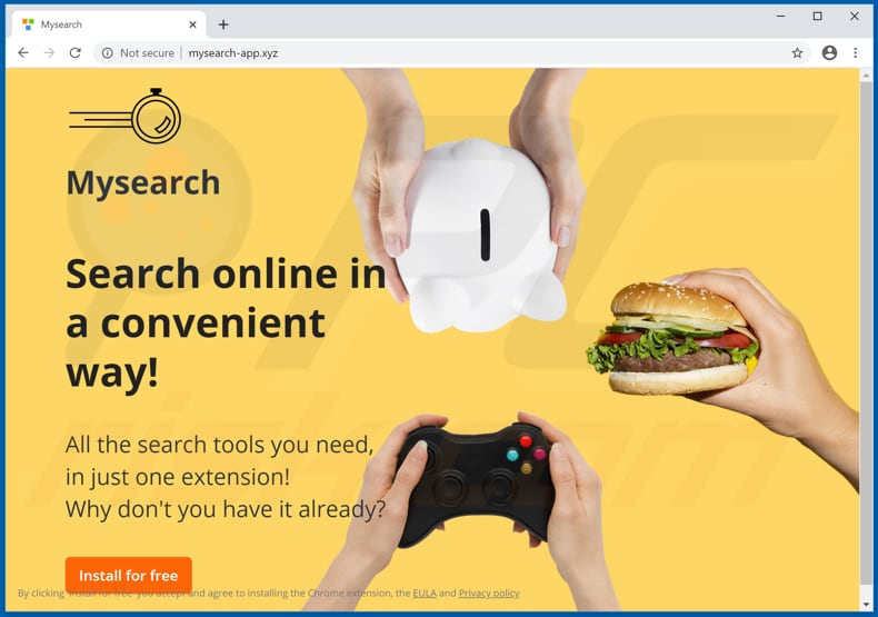 Website used to promote MySearch Search browser hijacker