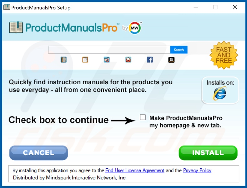 Official ProductManualsPro browser hijacker installation setup