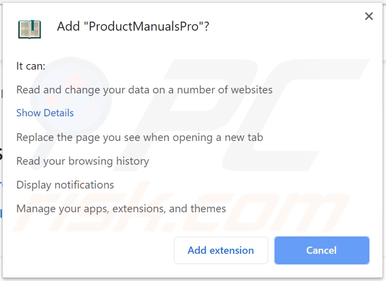 ProductManualsPro browser hijacker asking for permissions (Chrome)