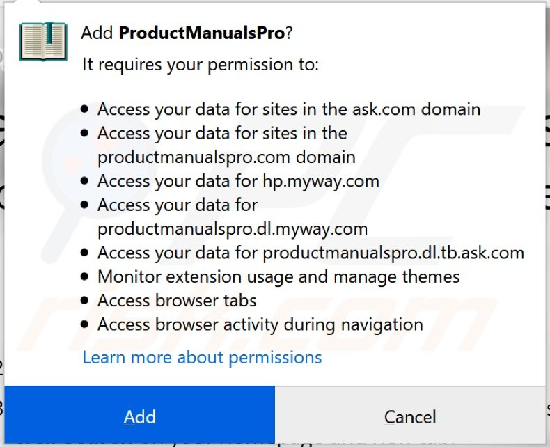 ProductManualsPro browser hijacker asking for permissions (Firefox)