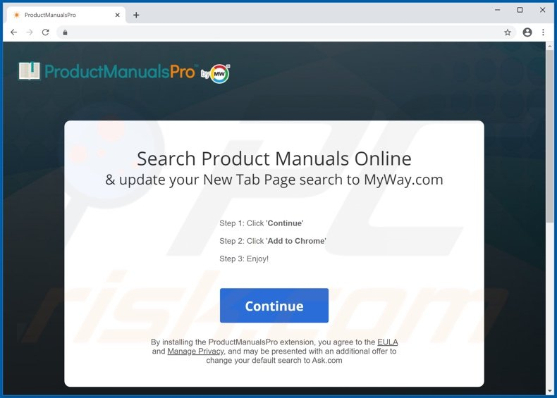 Website used to promote ProductManualsPro browser hijacker (Chrome)
