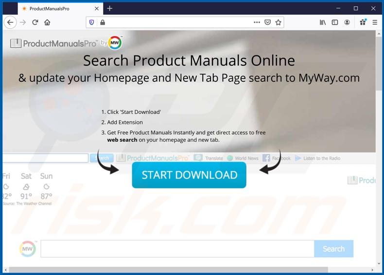 Website used to promote ProductManualsPro browser hijacker (Firefox)
