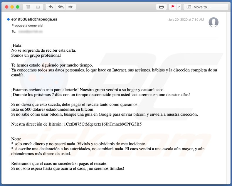 Propuesta comercial email spam campaign
