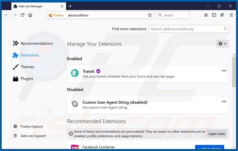 Removing hsearchpro.com related Mozilla Firefox extensions